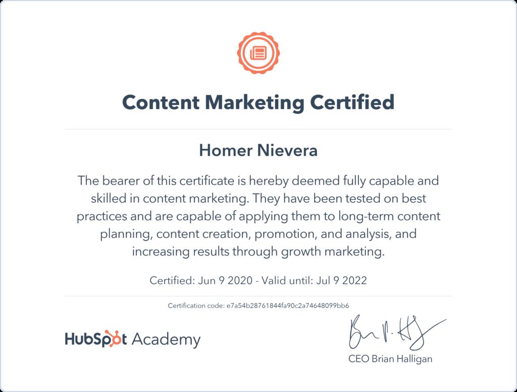 hubspot certificate homer nievera