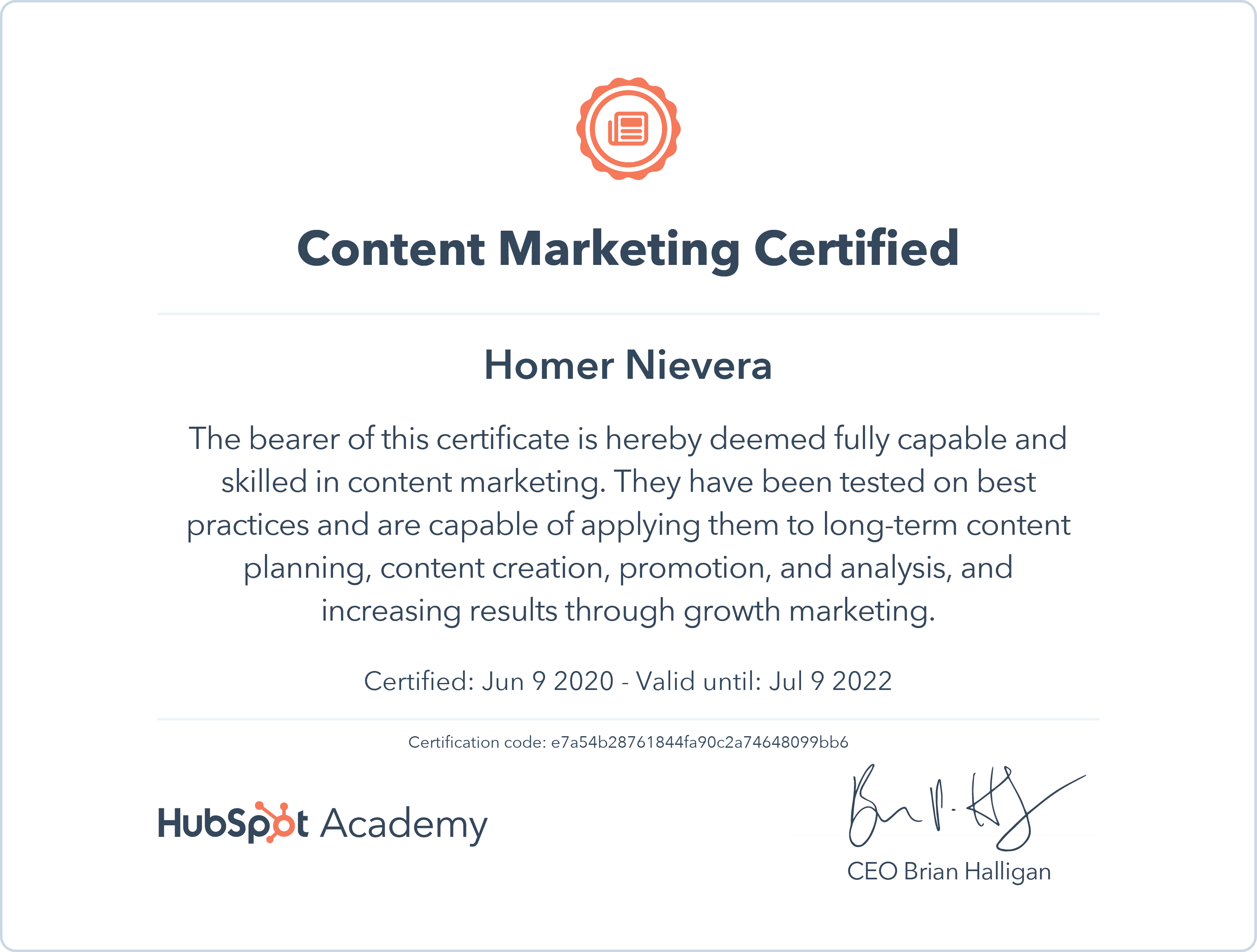 HUBSPOT CONTENT MARKETING CERTIFICATE - e7a54b28761844fa90c2a74648099bb6-1591677383929