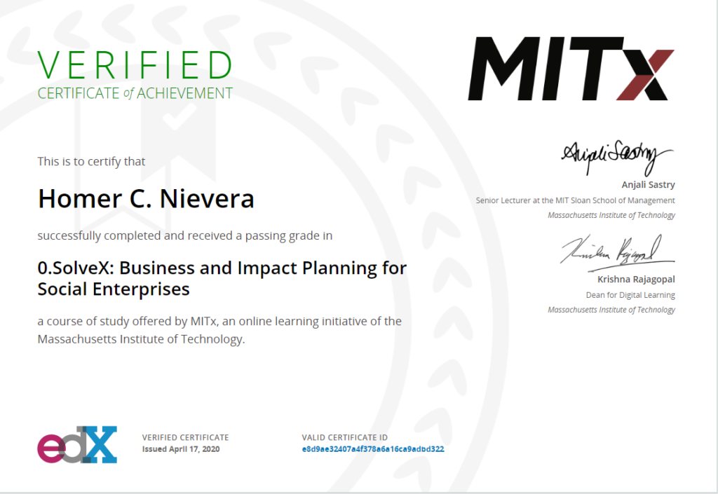 MIT certificate homer nievera