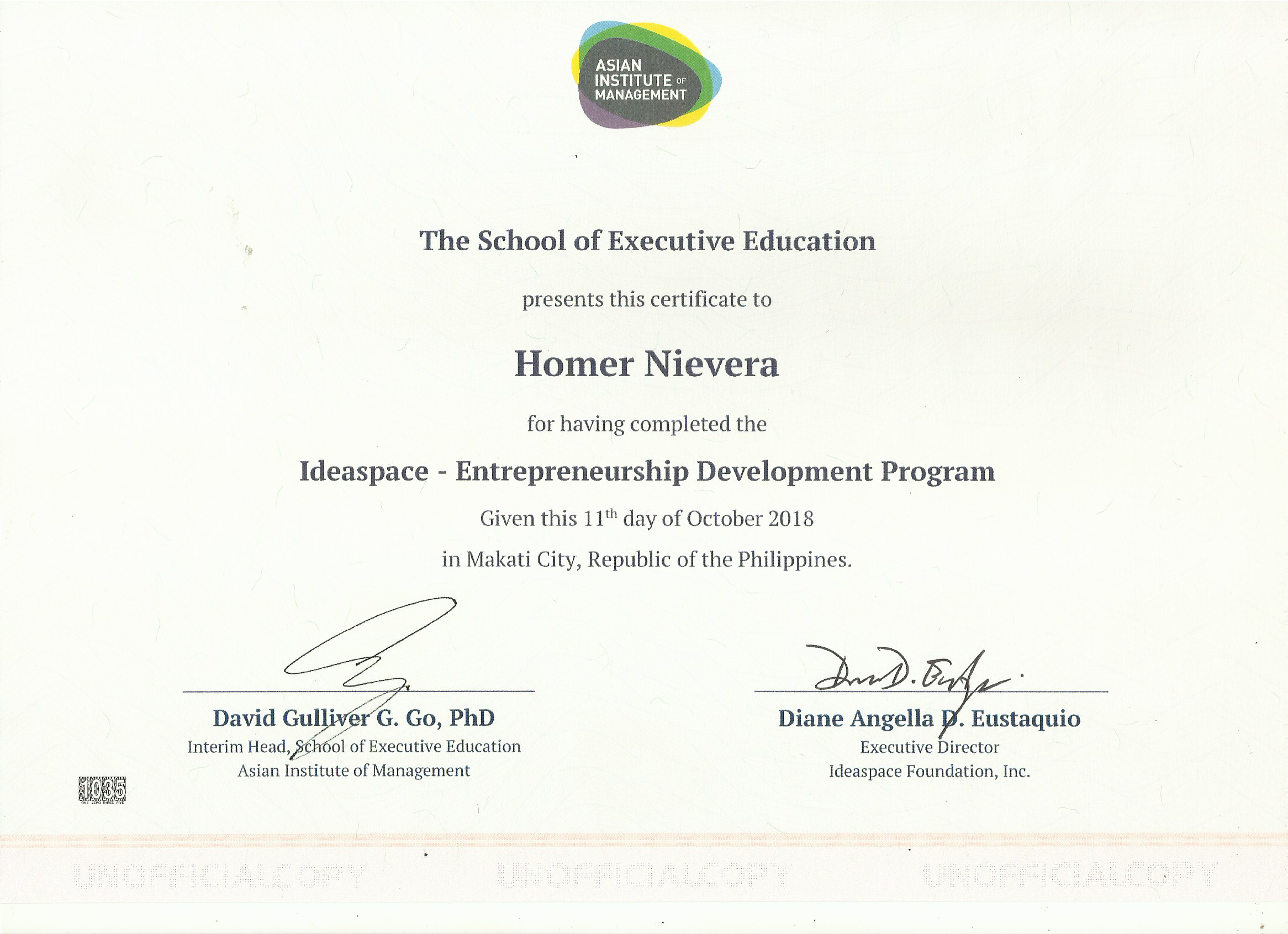 Ideaspace - Entrep Mgmt Program