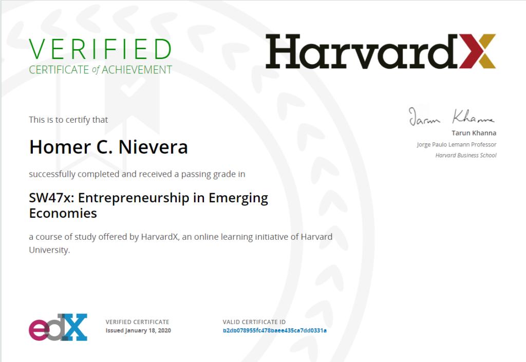 harvard certificate homer nievera